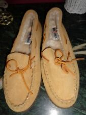 MINNETONKA WOMENS SIZE 11 SUEDE & SHEEPSKIN SLIPPERS EXCELLENT
