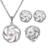 Fashion Imitation Pearl Crystal Jewelry Set Necklaces Earrings Rings Women .ch
