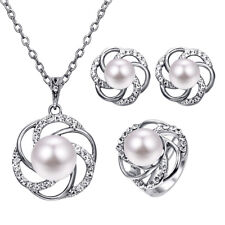 Fashion Imitation Pearl Crystal Jewelry Set Necklace Earrings Rings Women GiftUQ