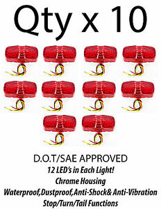 """4"""" Inch Red 12 LED Double Bullseye Camper RV Side Marker Clearance Light- Qty 10"""
