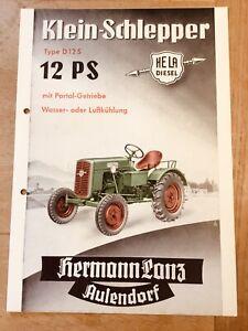 Prospekt HELA Hermann Lanz Klein-Schlepper Typ D 12 S mit 12 PS, Ausgabe 1957