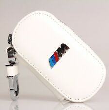 NEW Real White Leather Remote Car Key Case Cover BMW M Series Key Holder Bag
