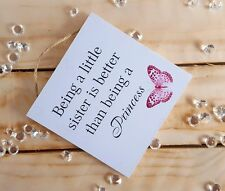Handmade Plaque Sign Gift Presents Little Sister Butterfly Christmas Daughter
