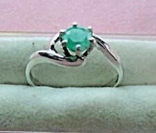 Handcrafted Genuine 5mm Round Shape Emerald Sterling Silver 925 Ring skaisOCT17