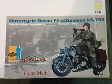 "Dragon 1/6 Scale 12"" WWII German Motorcycle Recon Franz Mehl w/ Zundapp 70450"
