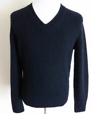 $1840 TOM FORD Blue Thick Soft 100% Cashmere Vneck Knitted Sweater Size Medium
