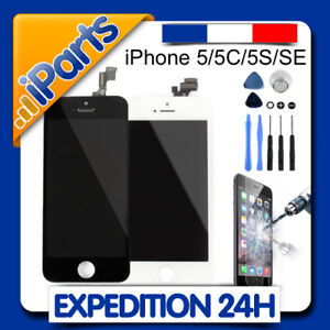 ECRAN LCD RETINA VITRE TACTILE SUR CHASSIS IPHONE 5 5C 5S SE / NOIR ou BLANC