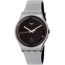New Swatch Originals Be Charged Gray/Black Silicone Men Watch 42mm SUOB401 $70