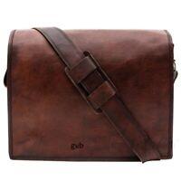 Men & Women Leather Messenger Laptop Bag Corporate Distressed Satchel Briefcase