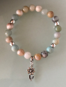 Protection Anxiety Stress Relief Daisy Flower Amazonite Crystal Healing Bracelet