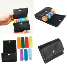 2x PU Plastic Pill Wallet Box Tablet Organizer Case Dispenser 4 Time A Day