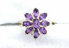 10Kt REAL Yellow Gold Oval Amethyst Gemstone Gem Stone Cluster Ring EBS199R53
