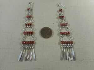 Exquisite LONG Zuni NATURAL coral chandelier earrings by MILBURN DISHTA