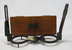 Antique 1880's John Bliss&Co Maritime Azimuth Instrument Sighting Vane Cased yqz