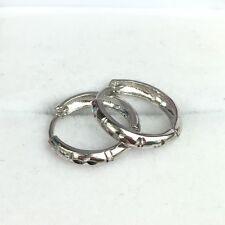 14k Solid White Gold  Cute Hoop Earrings. Diamond Cut, 1.38 Grams