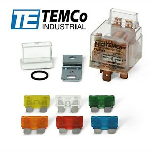 TEMCo 12V 30A 5 Pin Sealed Bosch Style Automotive Relay w/ Integrated Fuse SPDT