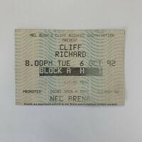 Cliff Richard 6 October 1992 NEC Arena concert ticket stub