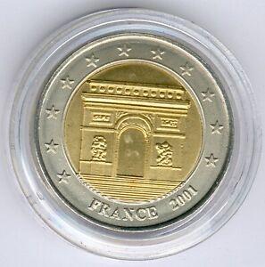 """France 2 Specimen/Medal """"Arc de Triomphe"""" 25,35mm, UNC.- + Zertifikat"""