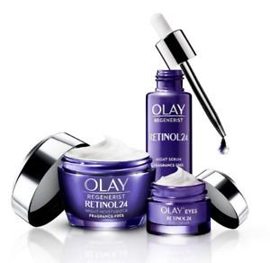 Olay RETINOL 24 Night Moisturiser, Serum and Eye Cream - 3pc Set - RRP $180
