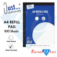 A4 lined Refill Pad 100 Page Notepad Memo Writing Ruled 53gsm Side Bound