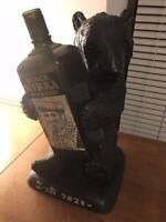 NIKKA WHISKEY Bear Bottle Stand and Empty Bottle Black Nikka very rare used item