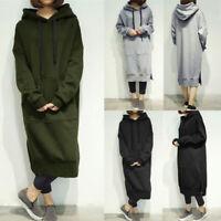 Women's Long Sleeve Loose Casual Plus Sweatshirt Hoodies Long Maxi Dress