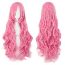 Women New Nature Wavy Curls Hair Wig Costume Pink Lolita Full Wigs