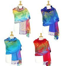 Women Rainbow Scarf Peacock Feather Pashmina Long Shawl Wrap Multicolor ~ Silky