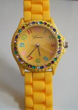 Fashion Candy Colors Jelly Silicone Rhinestone Girl's Women's Quartz Wrist Watch