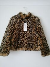 Zara leopard print faux fur jacket size M