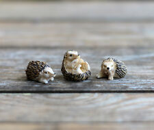 Fairy Garden Miniature Hedgehog Figurines Set of 3 Resin Animals 2 inch