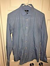 Hugo Boss Men Shirt Sz 15 38 Regular Blue Checkered Button Front Long Sleeve