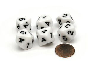 Pack of 6 D10 16mm Numbered 1 to 5 Twice Dice - White with Black