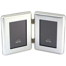 "Silver Plated 3.5"" x 5"" Janus I Hinged Double Picture Frame PT-59029/2"