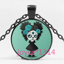 Sugar Flower Girl Cabochon Black Glass Chain Pendant Necklace HS-6212