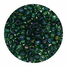 Japanese Glass Triangle Bead 8/0 Lined Green Shimmering Gr