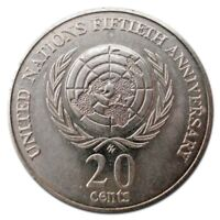 1995 UN United Nations 20c Coin UNCIRCULATED MINT FROM ROLL  50th Anniversary