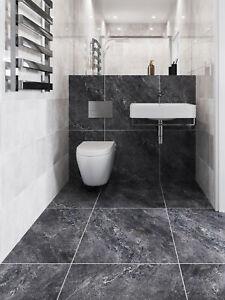 SAMPLE £19.89m2 Porcelain Tile Charcoal Matt 60x60 Wall Floor Kitchen Bathroom