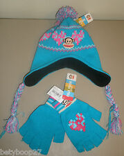 Paul Frank Julius Monkey Pink Turquoise Pom Hat Gloves Winter Set Girls Sz 4-16