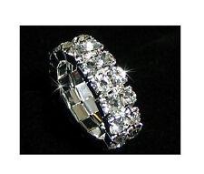 Lots 12Pcs Stretchy 2Rows Crystal Rhinestone Rings
