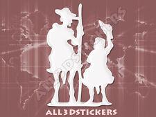 Pegatina Don Quijote y Sancho Panza 3D Relieve - Color Blanco