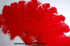 """LARGE OSTRICH FAN - RED Feathers 50"""" x 30"""" Sally Rand/Burlesque/Costume/Show"""