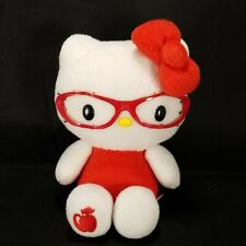 Hello Kitty Red Eye Glasses Red Apple On Foot Plush Stuffed Animal Sanrio 7""