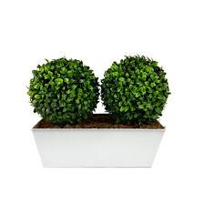 Artificial Double Boxwood Topiary Balls - White Tin Window Box Planter (35cm)