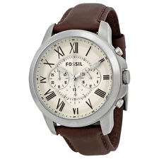 Fossil Grant Chronograph Egg Shell Dial Brown Leather Mens Watch FS4735