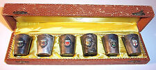 VTG 1920s ANTIKO GERMANY SET / 6 GERMAN CITY COAT OF ARMS SILVER PLATE SHOT CUPS