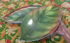 """■NWOT■ SET of 4 Green BANANA LEAF Huge MELAMINE PLATTER PLATES, 16"""" x 9.25"""""""