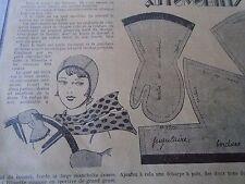 """ANCIEN PATRON POUR LA POUPEE """" BLEUETTE """"CASQUE ET GANTS SPORT AUTOMOBILE 1934"""