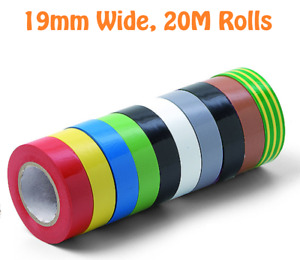 Electrical Insulation Pvc Wiring Tape 19mm x 20m Flame Retardant All Colours