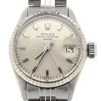 Vintage Rolex Date Ladies Stainless Steel Watch 18K White Gold Bezel Silver 6517